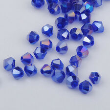 300pcs blue ab exquisite Glass Crystal 4mm #5301 Bicone Beads loose beads @1