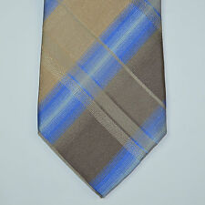 NWT KENNETH COLE 100% Silk Plaid Diamond Neck Tie Taupe Blue
