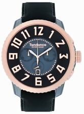 Tendence Swiss Made Rose Gold Men'S Watch Black Leather TE470003