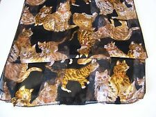 Kitty Cat Golden Yellow Tan 100% Polester Long Black Scarf or Belt