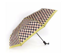 Mackenzie Childs COURTLY CHECK TRAVEL POP UP CHARTREUSE TRIM UMBRELLA NEW $48
