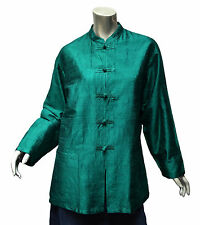 Arise Asian-Inspired Tunic Jacket Sz M/L Teal Green Silk Shantung Artsy