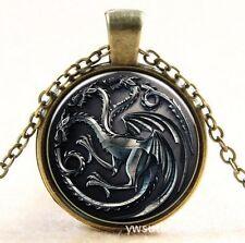 Vintage  Dragon Cabochon bronze Glass Chain Pendant Necklace