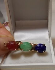 Vintage Christmas Red Green Blue Molded Glass Scarab Gold Tone Clip