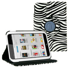 Zebra Leather 360 Rotating Skin Case Cover Stand for Barnes & Noble Nook HD 7""