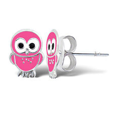 CUTE BABY PINK OWL STERLING SILVER STUD EARRINGS - Retro Kitsch FREE Gift Pouch