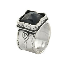 Vintage Shablool Hammered Solid 925 Sterling Silver Rings Black Onyx Square