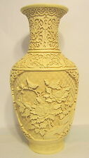 Large Chinese Floral Cream Vase Cinnabar Style