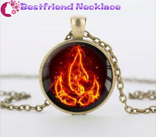 Bronze Avatar the Last Airbender Fire Nation Glass Dome Pendant Necklace#T12