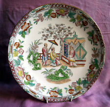 Mid-Victorian Chinoiserie pattern, printed and painted plate c1850