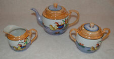 JAPANESE LUSTER WARE HAND PAINTED PORCELAIN TEA SET WITH 6 DESSERT PLATES