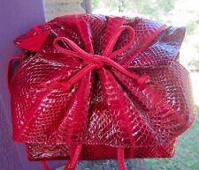 Clemente RED Gathered Snakeskin Leather Shoulder Bag Vintage Near Mint