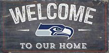 "Seattle Seahawks Welcome to our Home Wood Sign - NEW 12"" x 6"" Decoration Gift"