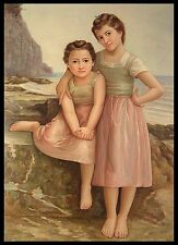 """Two Girls on the Beach, 36""""x24"""" Oil Painting on Canvas, Hand Painted"""