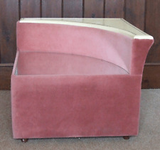 Vintage Pink Velour Corner Stand Table Retro 1980s Mirrored Glass Top Nightstand
