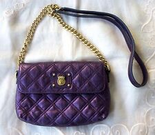 MARC JACOBS Purple Metallic Quilted Leather Wallet Crossbody Handbag