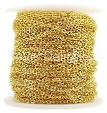Cable Chain Spool - 100 Feet - Gold Color - 2x3mm Link - Bulk Rolo