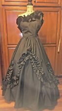 Black Vintage Formal Dress Ball Gown  Southern Belle Gothic Day of Dead Costume