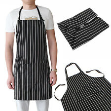 Exquisite Adult Black Stripe Bib Apron With 2 Pockets Chef Waiter Kitchen Cook
