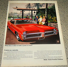 1967 Pontiac Red Catalina 4-dr Hardtop Car Ad Fitz & Van VK AF Art Illustration