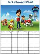 Paw Patrol Personalised Reward/Behaviour Chart with stickers