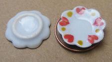 1:12 blanc en céramique vaisselle (2) coeur motif maison de poupées miniature accessoires 1.6cm
