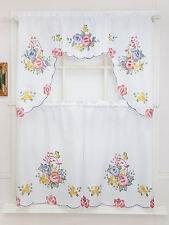 3pcs Kitchen curtain set, spray painted of FLOWER BASKET(ROSE & DAISY) design