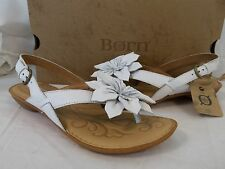 Born Size 6 M Kalani White Leather T-Strap Sandals New Womens Shoes