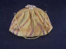 Vintage Inspired Pat Vini Silk Bag with  Crystal/Rhinestone Clasp