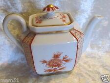 Belle et ancienne théière porcelaine Paris ou Limoges décor japonisant orange