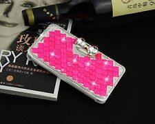 Rose Crystal Bling Bow Knot Crystal Diamond Leather Flip Case For iPhone 7