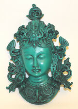 Small Green Tara Buddha Mask,Resin Home Decor,Hand Craved from Nepal,CL-47G,New