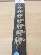 New Turkish Wall Hanging 7 Elephants Blue Evil Eye Protection Good Luck Charm.