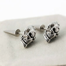Men Women Stainless Steel Skull Head Skeleton Rivet Spike Punk Ear Stud Earring