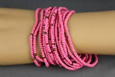 15 bracelets seed bead Coral Bronze stretch set pack beaded stack stacking set