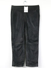 Reiss BNWT Womens Davis Perforated Leather Crop Trouser