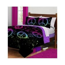 Peace Sign Bedding Paint Comforter Set Black Neon Teen TwinXL Sheets Reversible