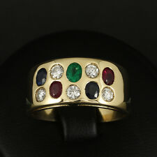 Eleganter Farbstein Brillant Ring ca. 1,45 ct.   9,3g 750/- Gelbgold