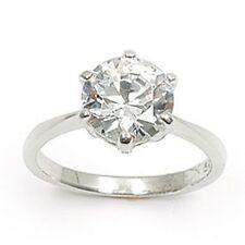 Dolly-Bijoux Bague Rhodié Solitaire Diamant Cz Multifacette T62  9mm Argent 925