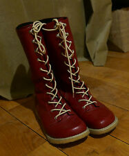 Red leather lace-up duck feet/ natural shoe flat walking winter boots 7.5 - 8