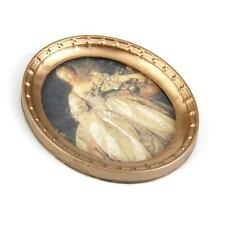 Dollhouse Miniature Oval Framed Victorian Lady Portrait Wall Paintings 1/12