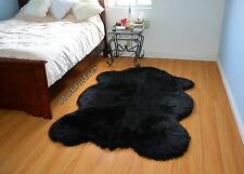 Shag Throw Rug Carpet 5' Luxury or Rustic Lodge Cabin Black Sheepskin Bear Skin