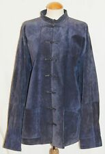 womens blue suede SHANGHAI TANG chinese style kimono jacket size L Large