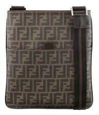 NWT FENDI Men's Zucca FF Spalmati Flat Cross Body Messenger Bag Tobacco
