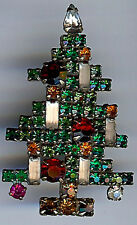 *WEISS VINTAGE MULTI COLOR RHINESTONE FIVE CANDLE CHRISTMAS TREE PIN*