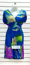NEW Blue Yellow Purple Multi color short Sleeve Casual Mini Sun DRESS S M L XL