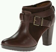 Clarks Artizan Malpas Dallas Brown Leather High Heel Ankle Boots Size 4.5/37.5