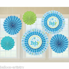6 Little Blue WELCOME Baby Boy Shower Party Hanging Paper Fan Decorations