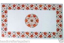 Size 4'x2' Travertine Marble Table Top Carnelian Marquetry Inlay Home Decor Gift