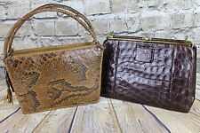 Vintage 2 X Vintage Genuine Crocodile & Python Snakeskin Bags  Repair As Is